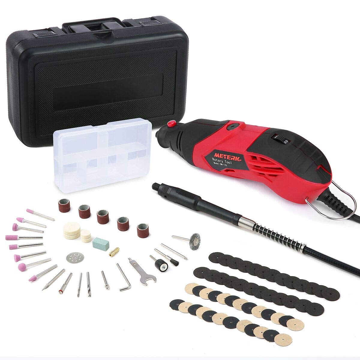 Meterk Rotary Tool Kit, 170W, 8,000 to 35,000 RPM,6-Speed with Flex shaft, 85Pcs Carrying Case, Electric Grinder, Engraver, Sander, and Polisher for Milling Sanding Sharpening Carving,etc
