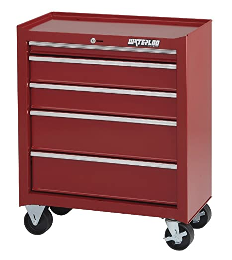 Waterloo Shop Series 5-Drawer Tool Cabinet with Full-Extension Friction Drawer Slides, Red Finish, 26