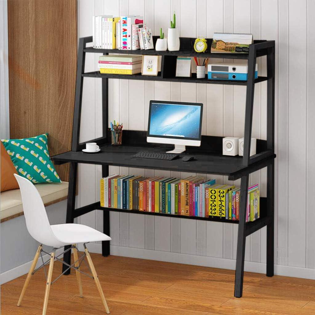 Kanpave Study Computer Desk Workstation,Laptop Study Table Household Writing Desk with Desktop Display Shelves & Bottom Storage Shelves Home Office for Teens Adults (Black)