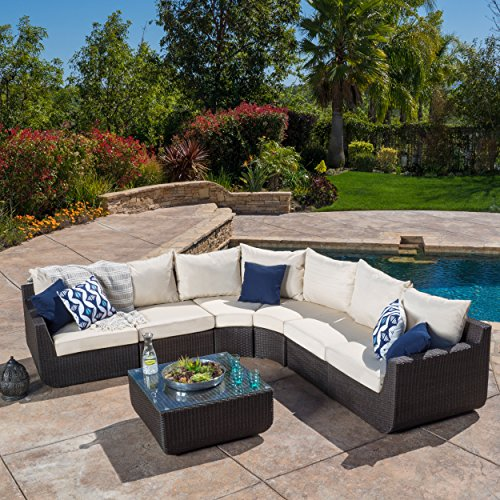 Prado Outdoor 7-piece Sectional Sofa Set with Beige Cushions price