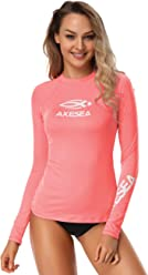 AXESEA Women Rash Guard Long Sleeve Active Top UPF 50+ Rashguard Swim Shirt Surf Swimwear