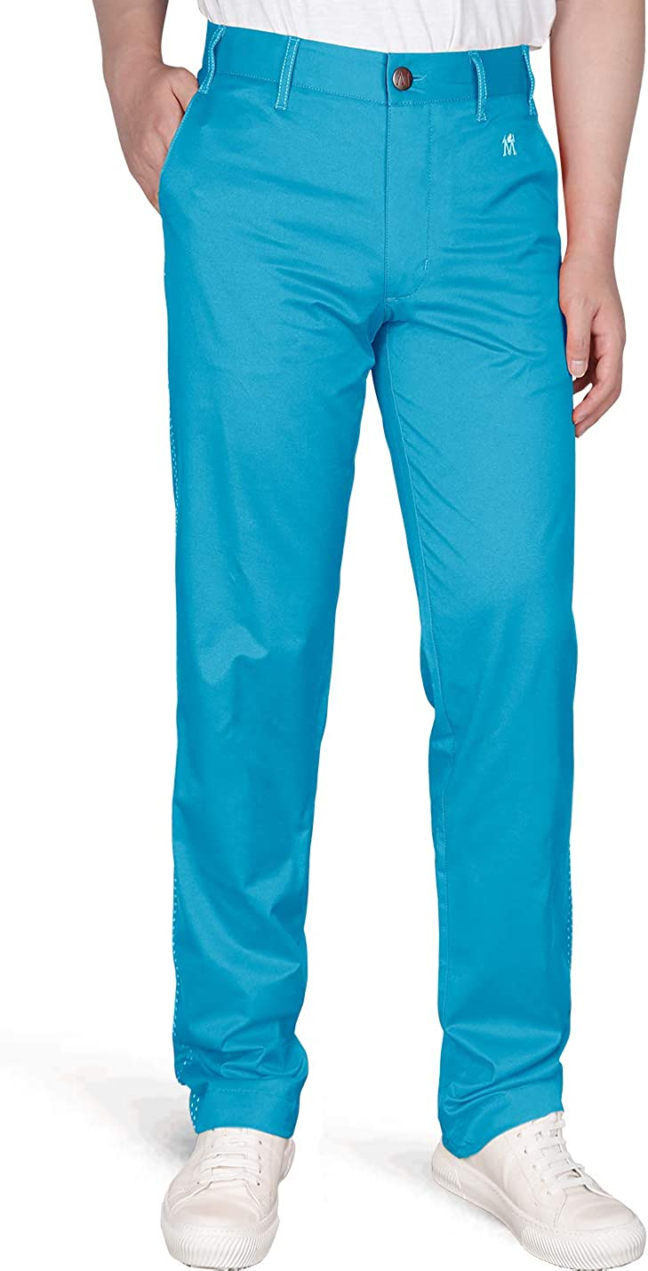 DrawingIQ Men's Stretch Golf Pant Quick Dry Vented Straight-fit Flat Front Pants