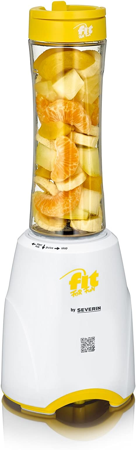 Severin Smoothie Mix & Go Batidora, 300 W, 0.6 litros, Blanco y Amarillo: Amazon.es: Hogar