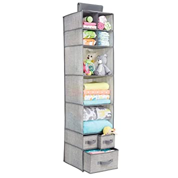 58f738fe4 mDesign Organizador de tela con 7 estantes y 3 cajones – Armario de tela  para ropa