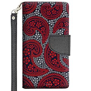 LG Magna Wallet Case - Paisley Red and Flowers on Navy