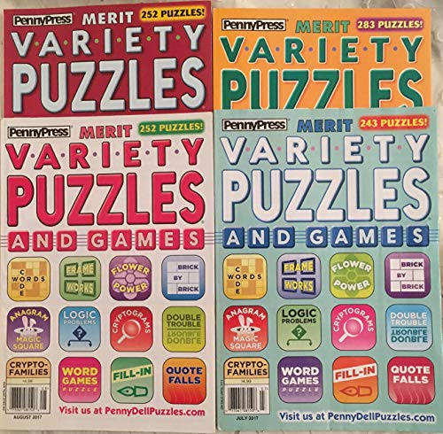 (Lot of (4) Penny Press Merit Variety Puzzles And Games Full Size Books 2017)