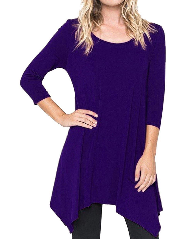 Deep Purple Fanfly Women's 3 4 Sleeve Swing Tunic Top Loose Fit Flowy Shirt