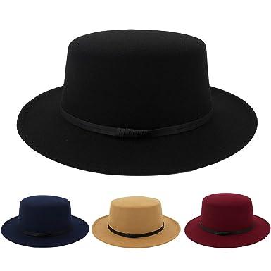 b66339fcaf228 Amazon.com  Wide Brim Wool Belt Felt Flat Top Fedora Hat Party Church  Trilby Hats Cap Mature Warm and Handsome Cute hat Unisex  Clothing