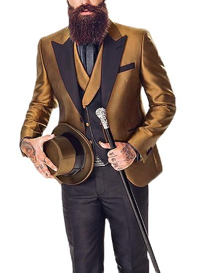 492654d2a4c54 DGMJ 3 Piece Suits for Men Slim Fit Tuxedo for Mens Wedding Attire ...