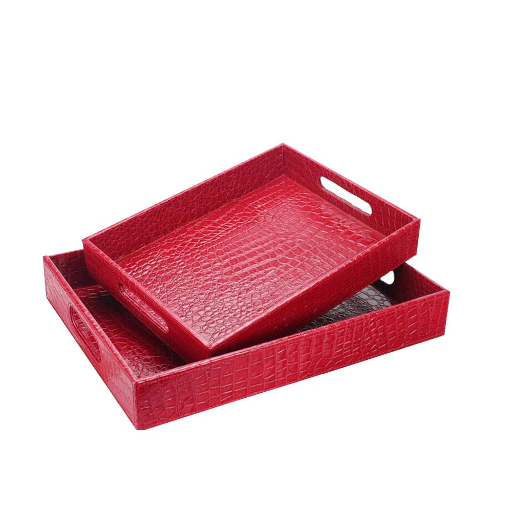 Xiaoninfmeng High-Grade Leather Dining Room Kitchen Serving Tray,Food Serving Tray with Double Handles, Rectangle Serving Tray, Breakfast Bed Trays (Color : Red, Size : L)