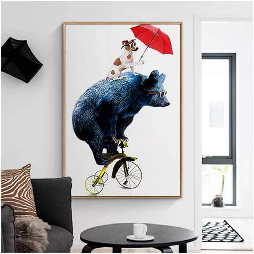 Carteles e Impresiones artísticos acrobáticos con Oso Abstracto, Pinturas en Lienzo, Cuadros artísticos de Pared para decoración de Sala de Estar, 30x40cm (12x16in)