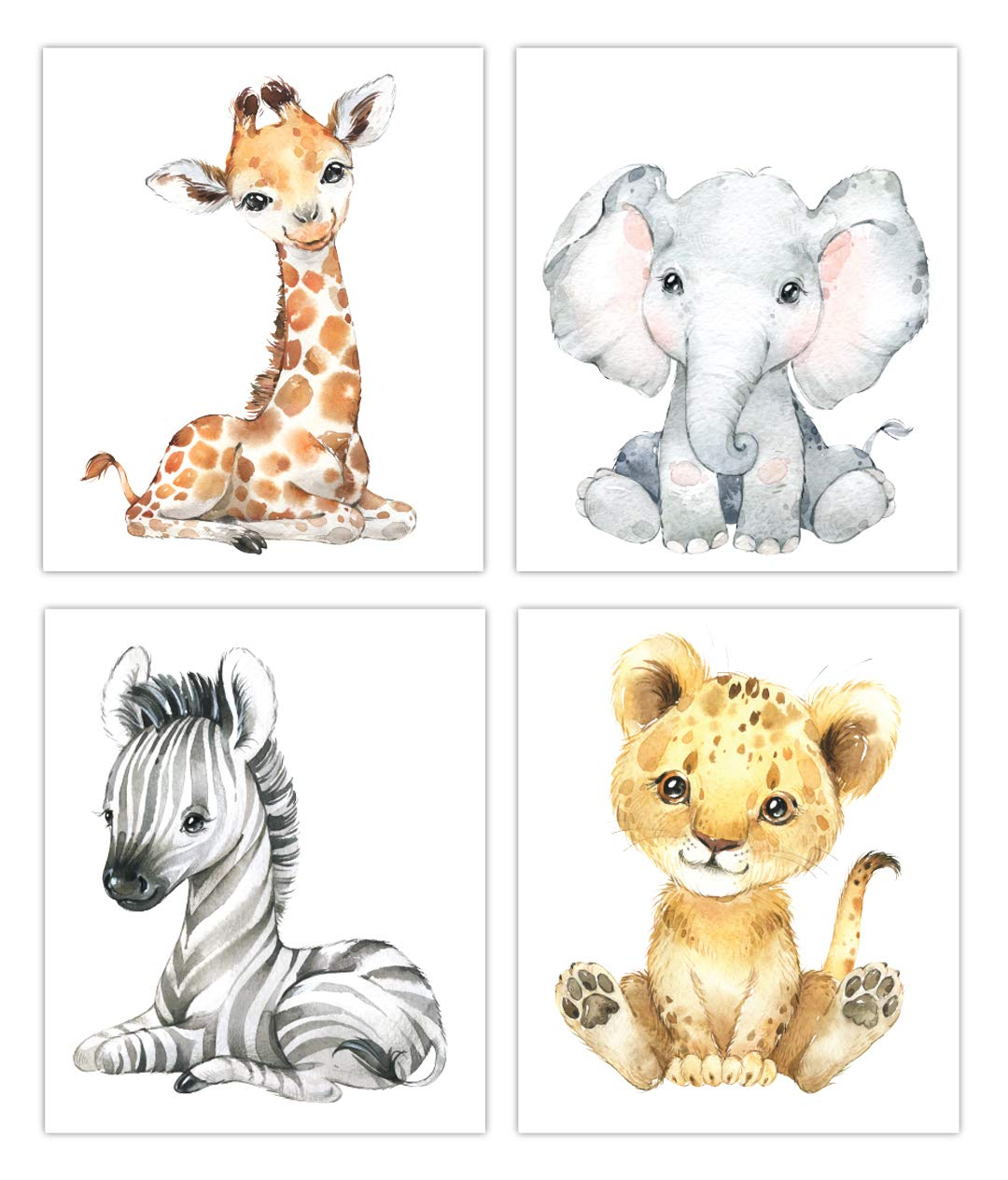 Designs by Maria Inc. Safari Babies Watercolor Animals Prints Set of 4 (Unframed) Nursery Decor Art (8x10) (OPTION 2)