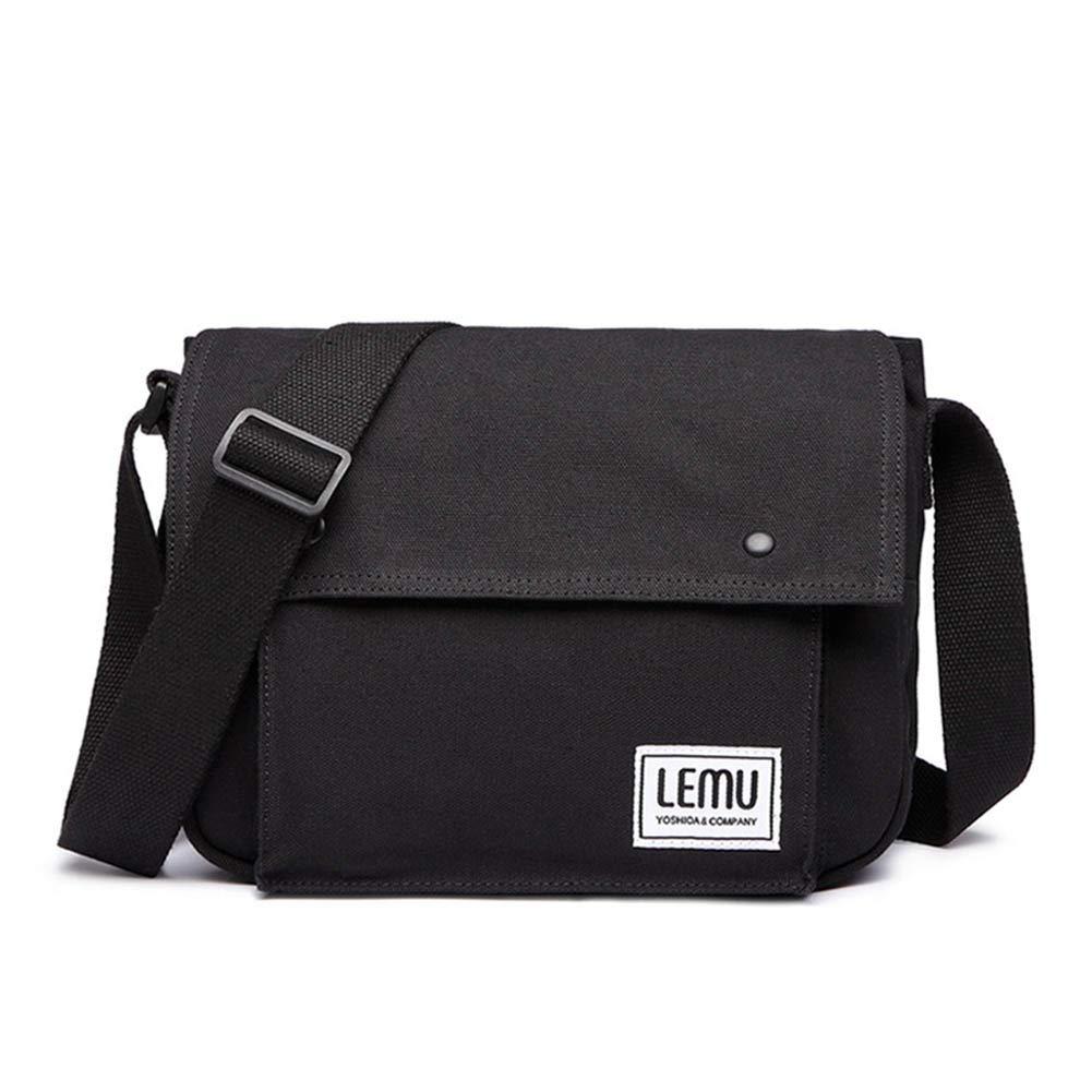 HaloVa Men's Massenger Bag, Premium Canvas Crossbody Bag, Anti-Scratch Durable Side Bag Shoulder Bag, Practical Satchel Bag, Multipurpose Daypack for Working Business Tirp Shopping, Black