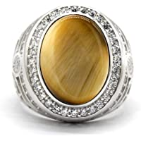 خاتم فضة بحجر عين النمر من Dinuo للرجال مجموعة زركونيا مكعب (CZ) طراز عتيق خاتم الزفاف مقاس 7-12