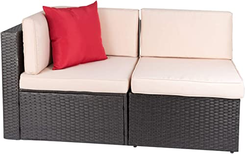 Devoko 2 Pieces Patio Furniture Sofa Sets Outdoor All-Weather Sectional Corner Sofa and Armless Sofa Brown
