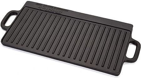 Plancha Rectangular de Hierro Fundido Acanalada para 2 quemadores/Fuegos - 2 Burner Oversize BBQ Plate 50x23.5x1.5cm 4kg. Ideal para hornillo de ...