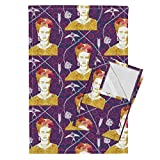 Roostery Frida Mexican Tea Towels Frida 5 by Nouveau Bohemian Set of 2 Linen Cotton Tea Towels
