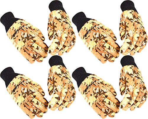 Forney Woods Camouflage Jersey Cotton/Polyester Men's Gloves, Large (4 Pair)