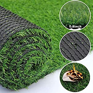 Green Artificial Grass Turf,Fake Grass Carpet Lawn Garden Landscape Outdoor Rugs Synthetic Turf Mat,Easy Clean with…