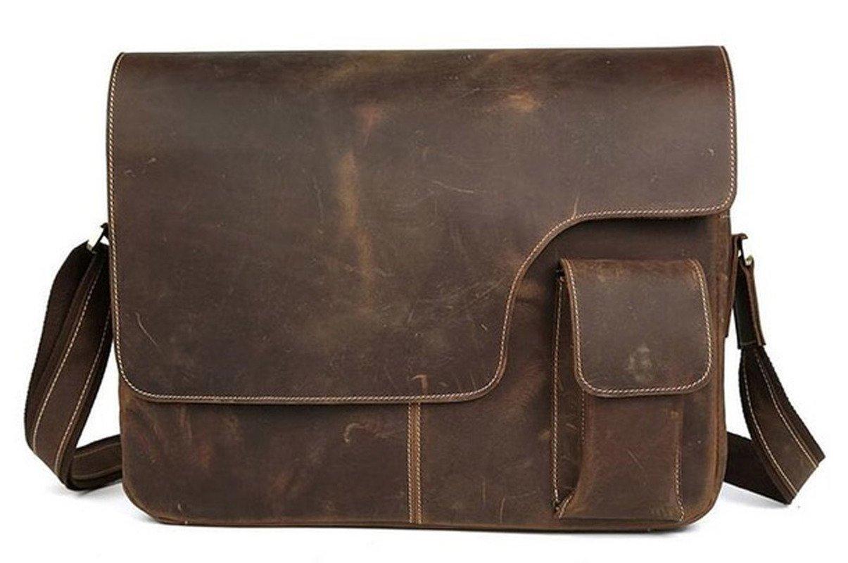 Hunter Leather Crossbody Messenger Bag