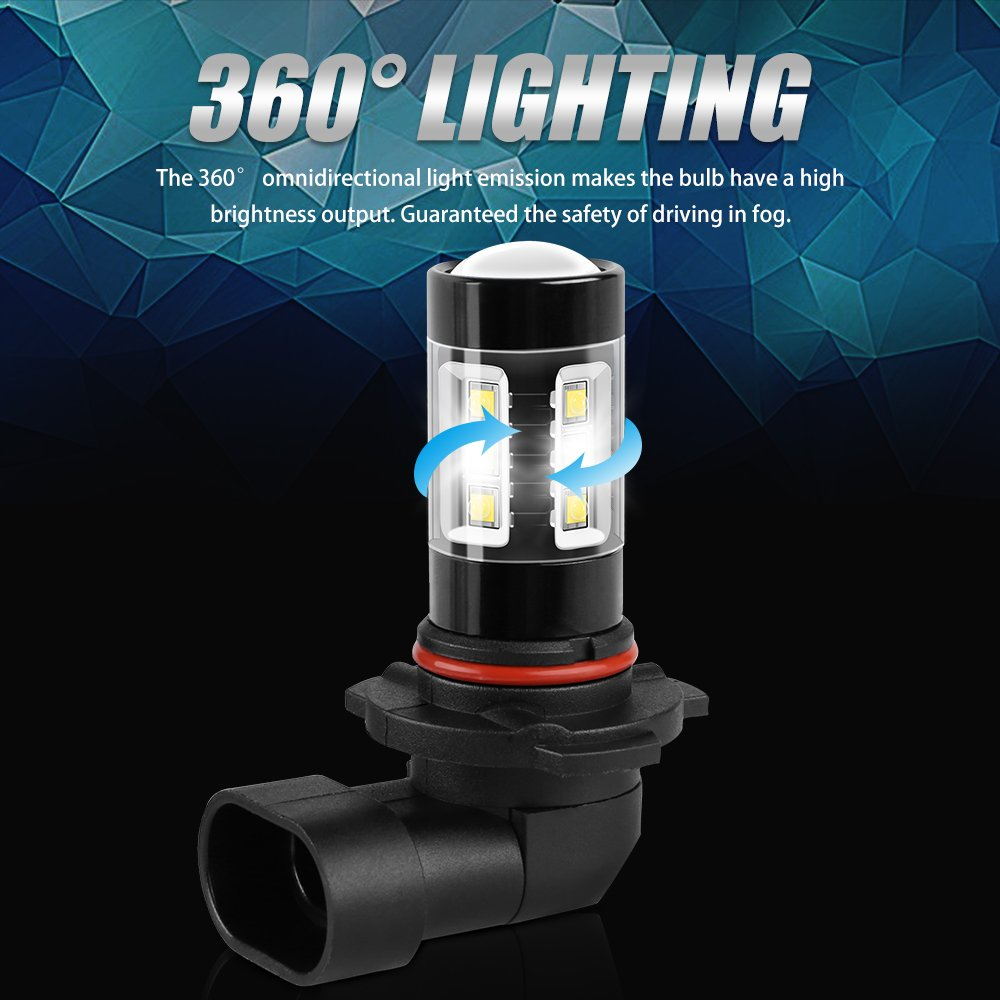 Bright SMD Chip,360/° Beam Angle Autofeel H10 LED Fog Light Bulbs 1 Year Warranty Amber Light