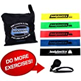 Bodylastics Premium Loop Resistance Bands Set. Includes 5Best Quality Loop Resistance Bands, BONUS Custom Designed Door Anchor and Carry Bag