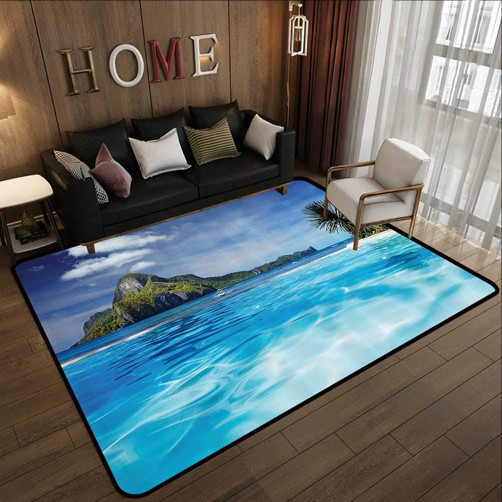 Indoor Outdoor Rugs House Decor Landscape With Swimming Pool And Distant Island Tropical Exotic Hawaiian Dream Theme Turquoise Green 35 X 59 Floor Mat Kitchen Long Carpet Kitchen Dining