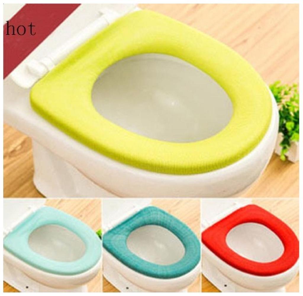 Singleluci 1 PC (Random Color) Washable Bathroom Closestool Soft Warmer Mat Cover Pad Cushion Toilet Seat