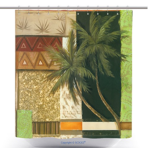 Art Oil Painting Coconut Trees Palm Trees Vintage Stylized Picture Bathroom Shower Curtain - Waterproof And Mildewproof Havy-Duty Polyester Fabric Bathroom Curtain Ideas (72