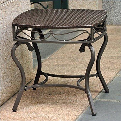 International Caravan Lisbon Wicker Patio Side Table in Chocolate - Contemporary Resin Side Table