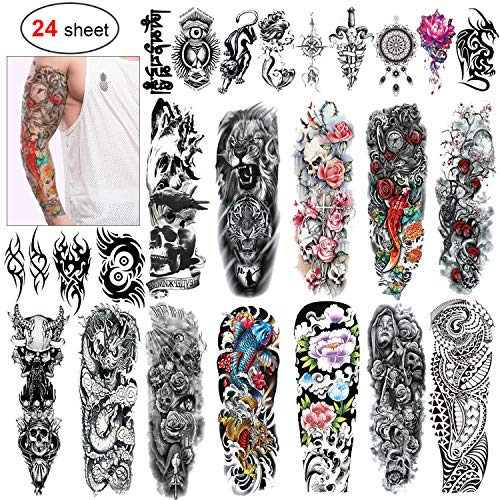 Skull And Roses Tattoo Sleeve (Konsait 24 Sheets Large Temporary Tattoos Full Arm and Half Arm Tattoo Sleeves Temporary Sleeve Tattoos Large Fake Body Art Arm Chest Shoulder Tattoo Black tattoo Body Stickers for Man)