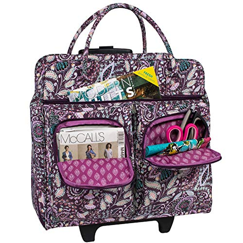 Everything Mary Deluxe Purple Paisley Floral Rolling Sewing Case by Dena Designs - Sewing Machine Case Fits Most Brother & Singer Sewing Machines - Sewing Machine Bag with Dual Handles & Wheels