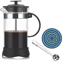 Fransk press kaffebryggare med tre rostfria stålfilter, kaffepress kaffebeständig, värmebeständigt borosilikatglas, 350…
