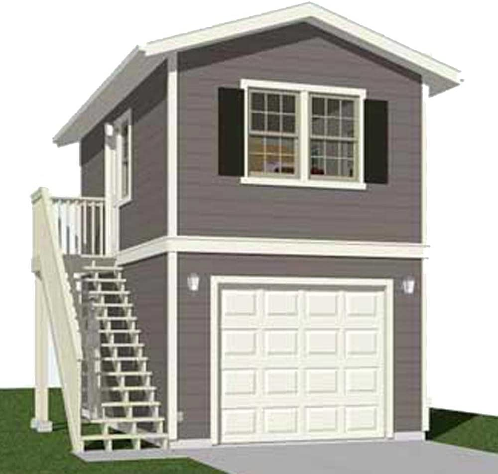 Garage Plans Two Story 1 Car Garage Plan 588 1 12 3 X 24 With Optional Apartment Included Amazon Com