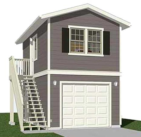 Garage Plans: Two Story, 1 Car Garage Plan 588-1 - 12\'-3\