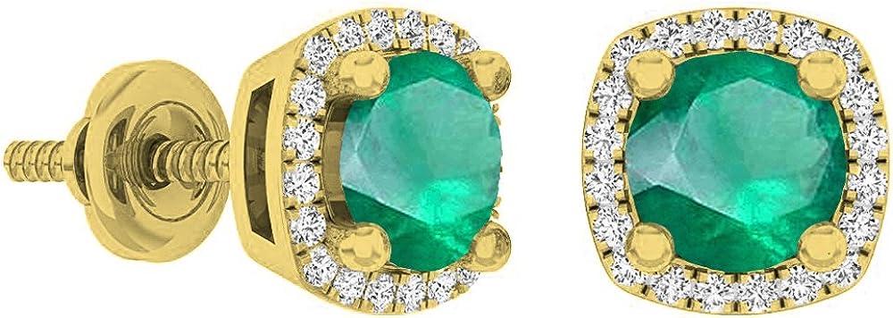 18K amarillo oro 5mm redondo Gemstone y blanco Diamond Ladies Halo Stud Pendientes
