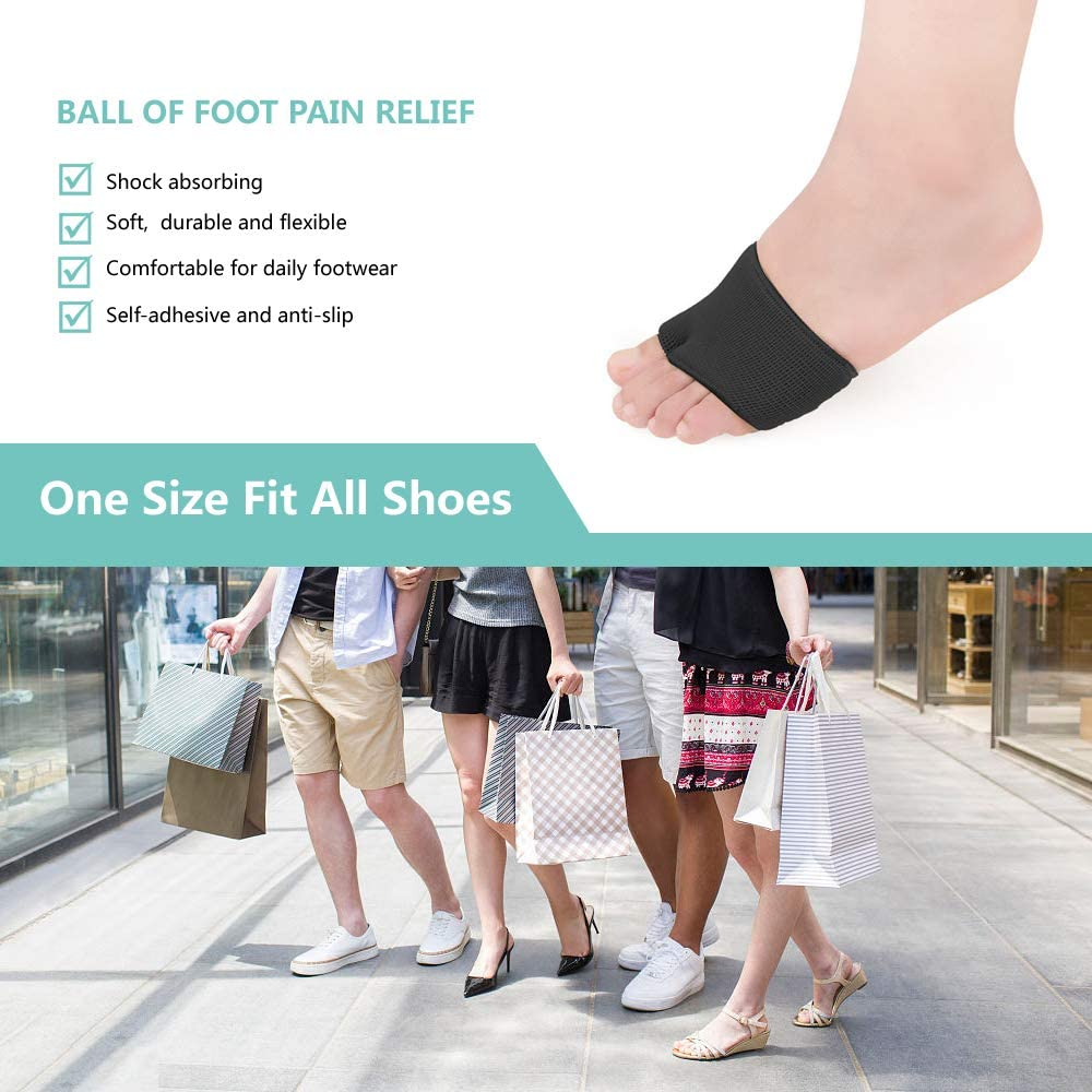 Temiart Metatarsal Sleeve Pads - 4 Pack Ball of Foot Cushions with Soft Gel, Fabric Compression Forefoot Gel Pads Cushion for Help Metatarsalgia, Mortons Neuroma, Diabetic Feet Pain Relief (Black): Health & Personal Care
