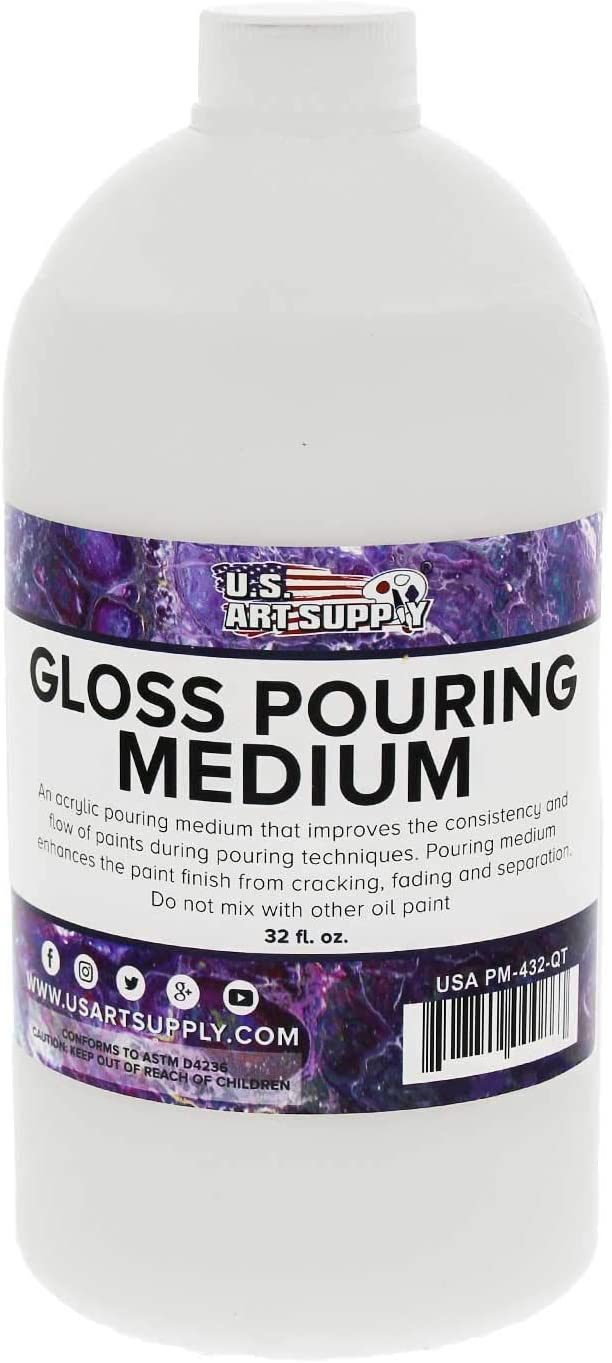 U.S. Art Supply Gloss Pouring Effects Medium - 32-Ounce/Quart