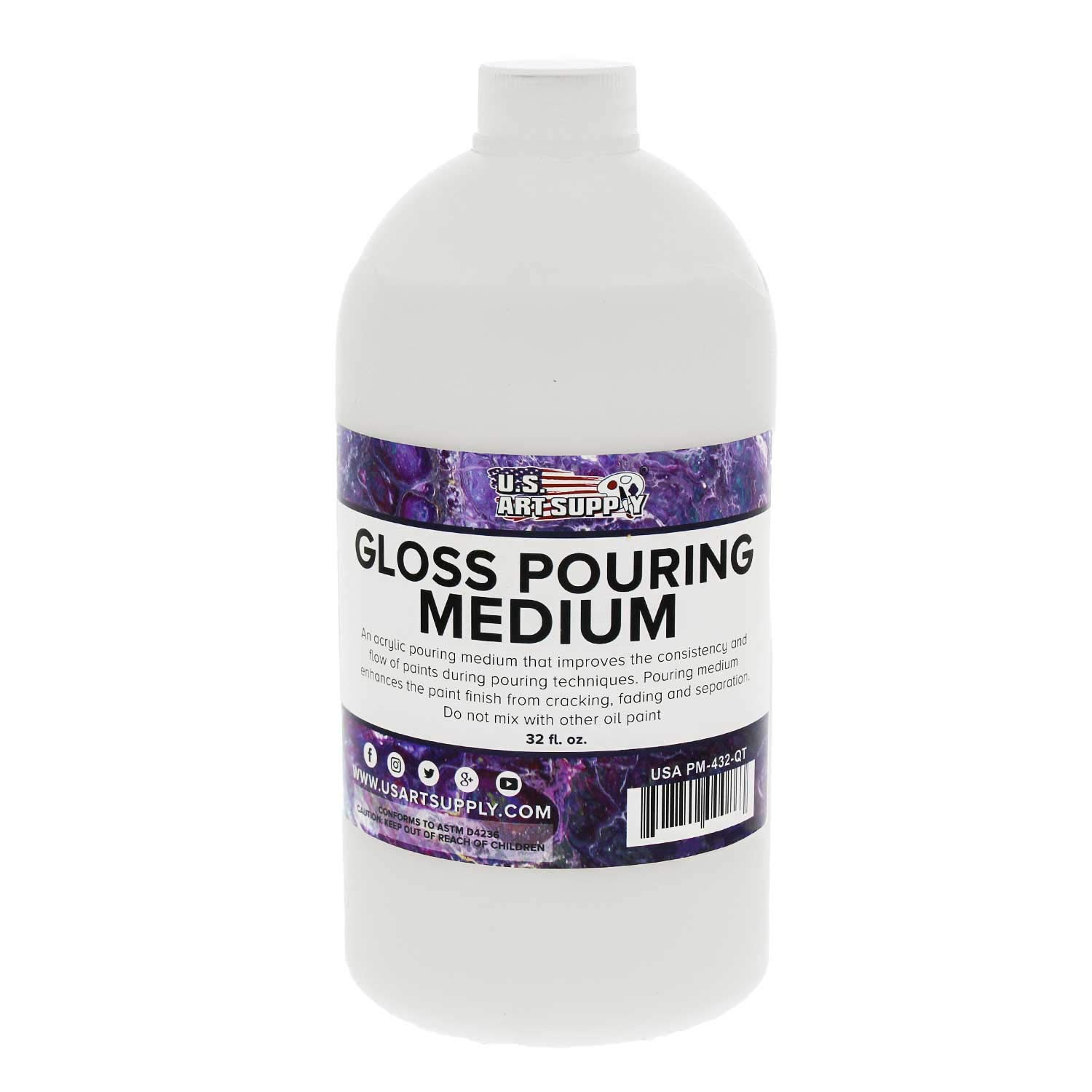 U.S. Art Supply Gloss Pouring Effects Medium - 32-Ounce/Quart by U.S. Art Supply
