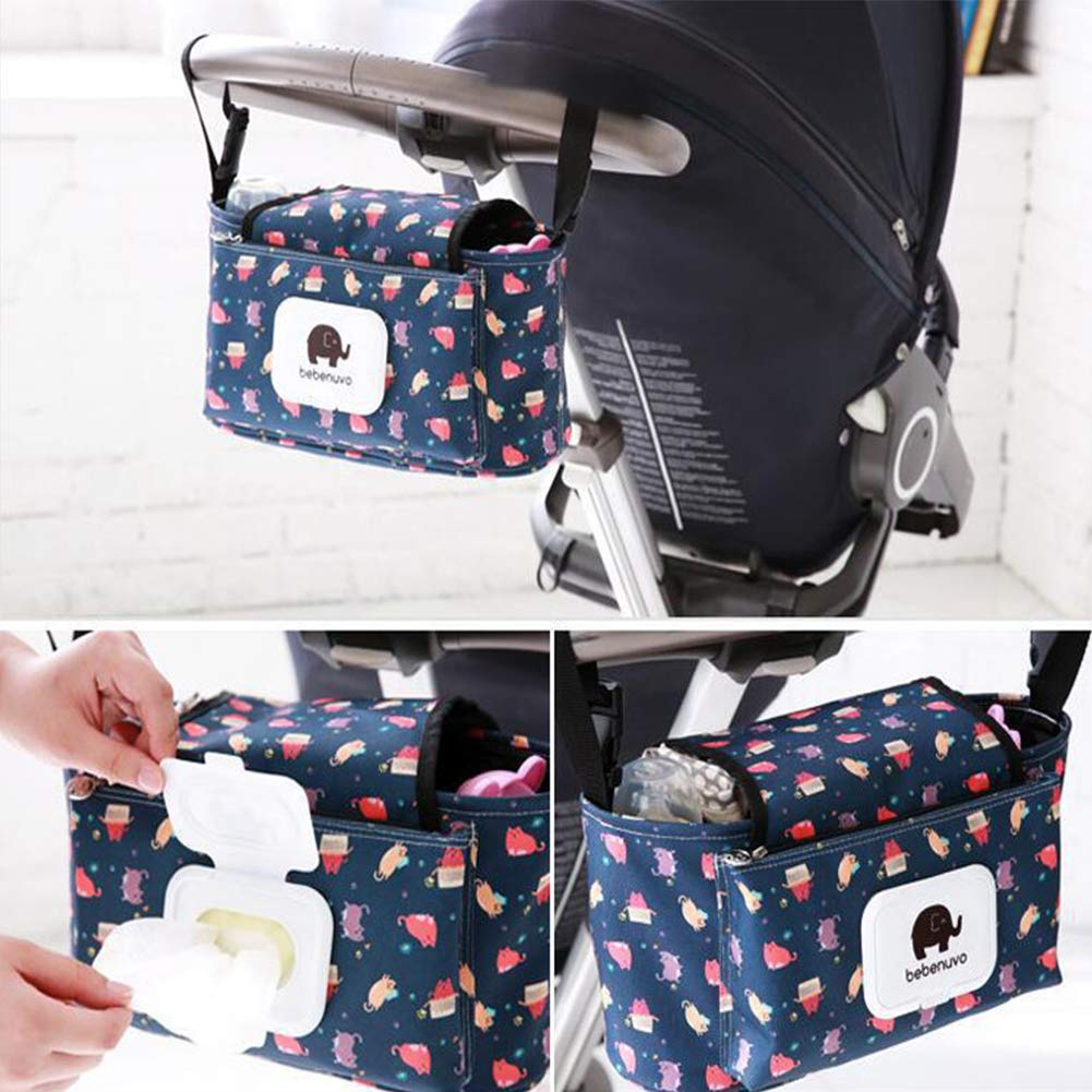 Universal Fit Buggy Organizer Diaper Bag Bottle Cup Holder Pram Storage Organizer Baby Stroller Organiser Hanging Bag Spacious Space for Bottles Diapers Clothing Toys Wallets Accessories