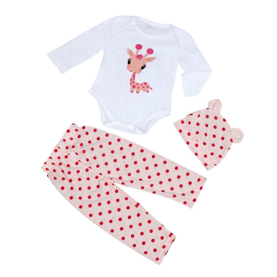 Mono bebé Amlaiworld Recién Bebé Niños niñas Sombrero + mameluco + pantalón juego conjunto