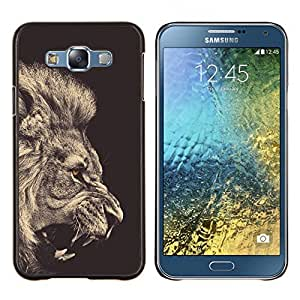 Dragon Case - FOR Samsung Galaxy E7 E7000 - lion sepia black white roar king fur - Caja protectora de pl??stico duro de la cubierta Dise?¡Ào Slim Fit
