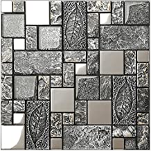 Rustic gray resin mix metal&glass tiles,stainless steel kitchen backsplash wall tiles,Leaves pattern metal mosaic building materials, LSRN09