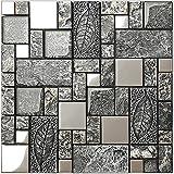 Vintage Grey Resin Stainless steel metal Glass blends mosaic wall tiles,Bathroom kitchen Fireplace wall,Rustic Art Tile Design - LSRN09 (11PCS 10.76Sq.ft)