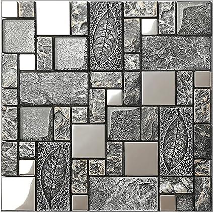 Vintage Grey Resin Stainless Steel Metal Glass Blends Mosaic Wall Tiles Bathroom Kitchen Fireplace Wall Rustic Art Tile Design Lsrn09 11pcs