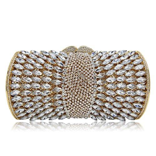 Flada de las mujeres de metal hueco de diamantes de imitación embragues monederos para damas bolsas de hombro de cristal rojo Gold 2