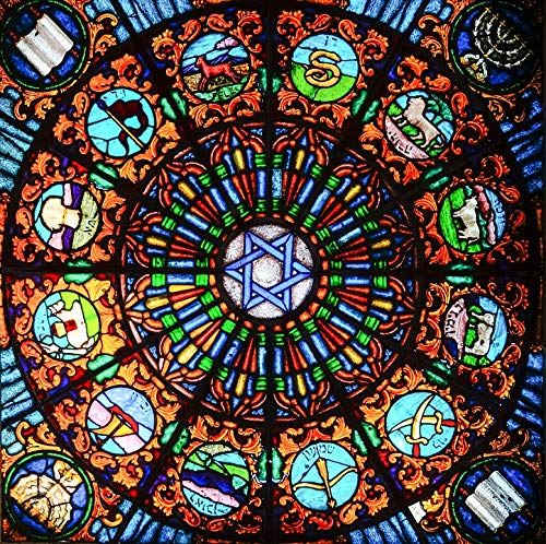 (Home Comforts Canvas Print Stained Glass Jewish Star Church Window Vitrage Vivid Imagery Stretched Canvas 32 x 24)