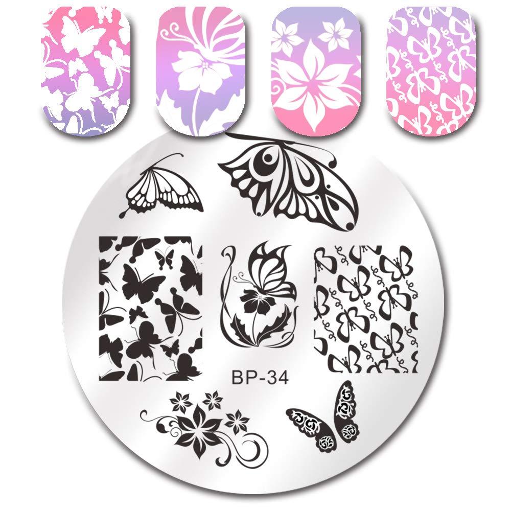 Born Pretty Plaque De Stamping Aux Motifs Intégraux Papillons BP34