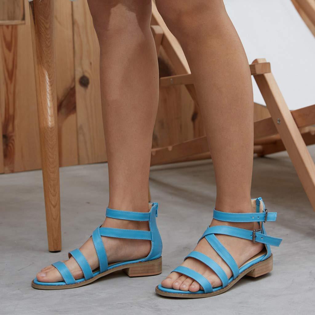 Darringls_Sandalias para Mujer,Mujer Sandalia de tacón Moda Correa de Tobillo Sandalias De Gladiador Vestido De Verano PU Cordones Talón Plano para Playa: ...