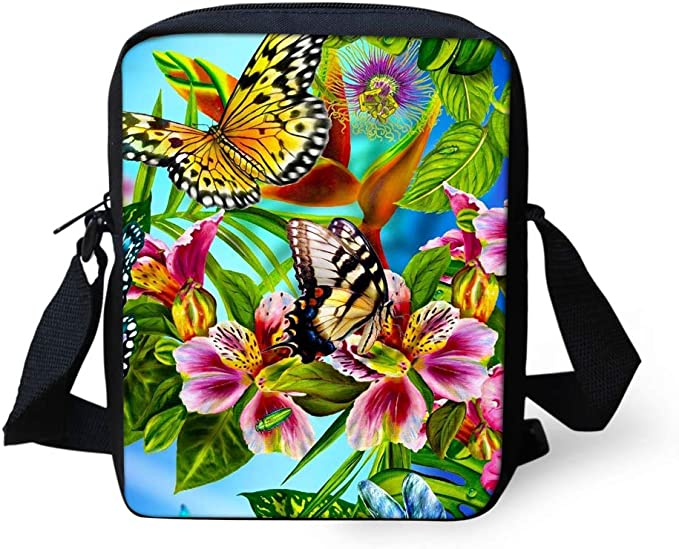 UNICEU Fashion Adjustable Shoulder Crossbody Bag Small Portable Outdoor Durable Colorful Flower Pattern School Bags